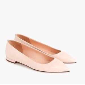 NIB J Crew Patent Pointy Toe Pink Flats 5.5